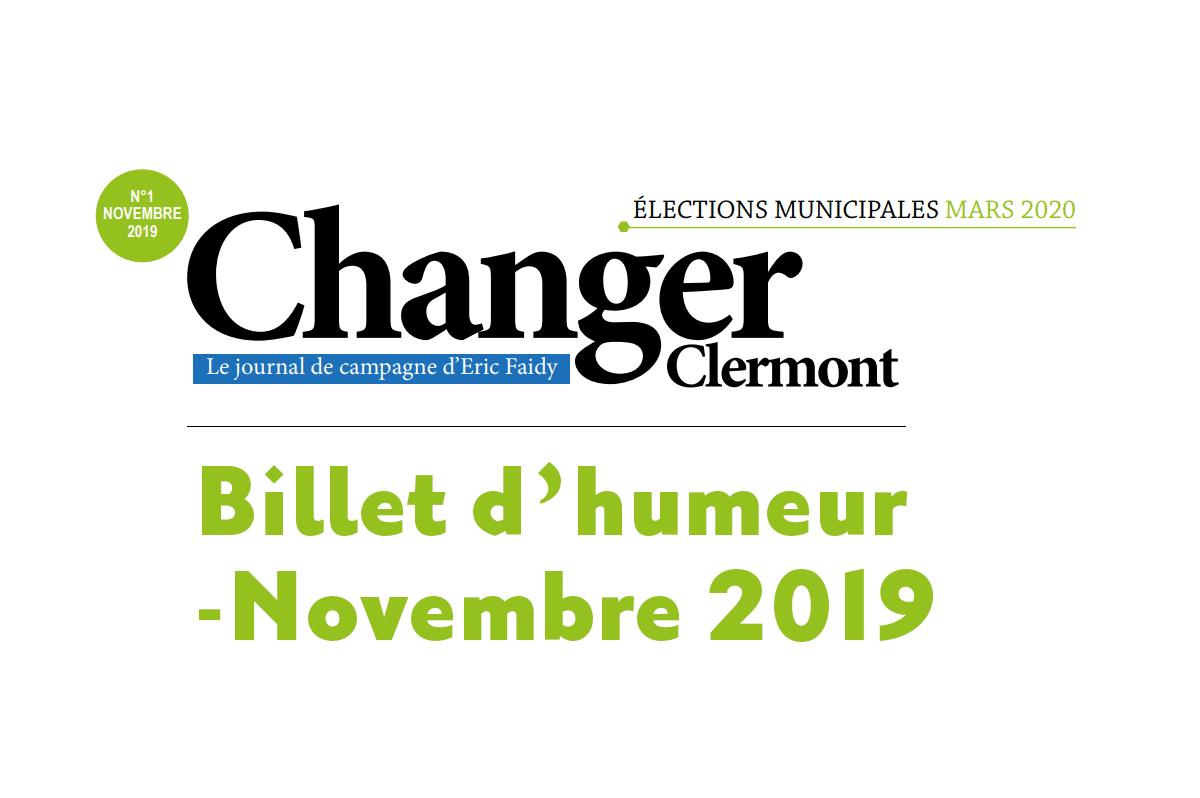Billet d'humeur – Novembre 2019
