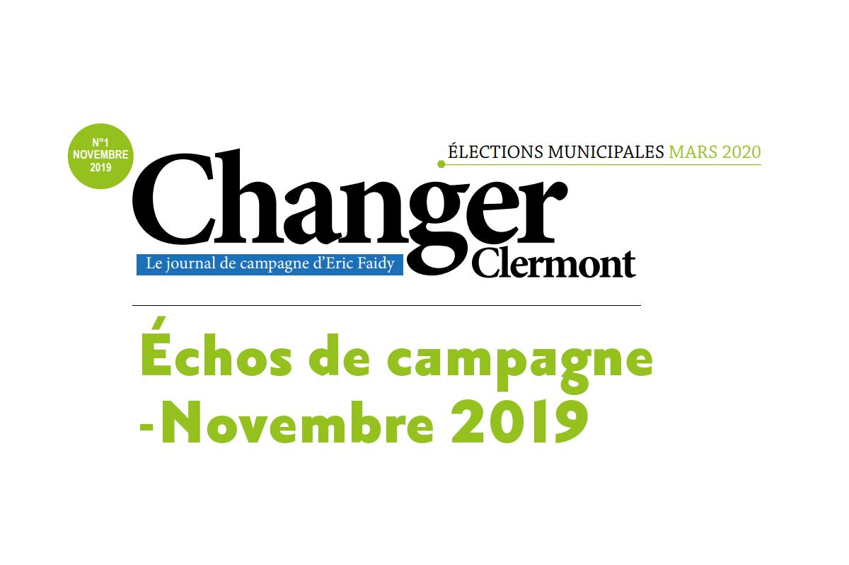 Échos de campagne – Novembre 2019