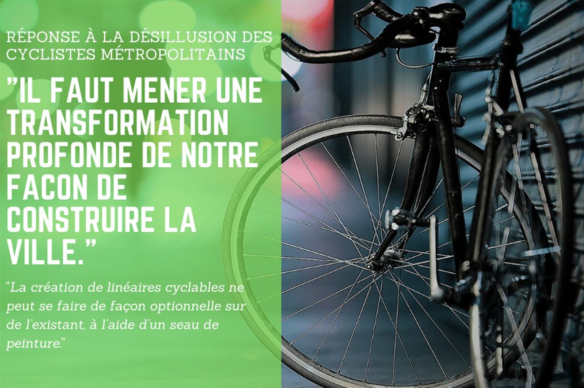 Répondre à la désillusion des cyclistes métropolitains